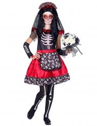 Costume dia de los muertos nero e rosso bambina