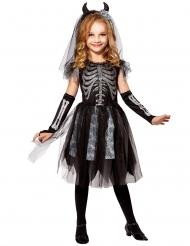 Costume sposa demone scheletro bambina