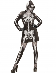 Costume da scheletro con gambali per donna