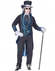 Costume vampiro vittoriano blu per uomo
