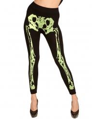 Legging con scheletro verde per donna