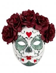 Maschera Dia de los Muertos rose bordeaux adulto