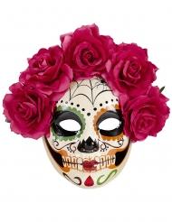 Maschera dia de los muertos rose rosse adulto
