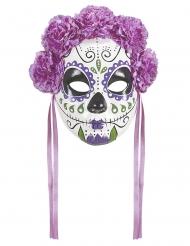 Maschera Dia de los Muertos viola con nastri adulto