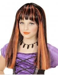 Parrucca strega meches arancioni bambina