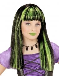 Parrucca strega meches verdi bambina