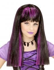 Parrucca da strega nera e viola bambina