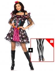 Costume Dia de los Muertos con calze omaggio