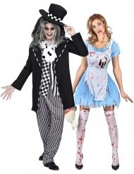 Costume di coppia Alice e cappellaio gotico adulto