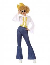 Travestimento disco effetto jeans e dorato donna
