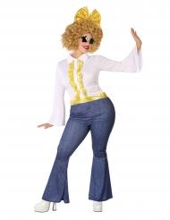 Travestimento disco effetto jeans e dorato taglie forti