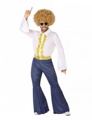 Travestimento disco effetto jeans e dorato uomo
