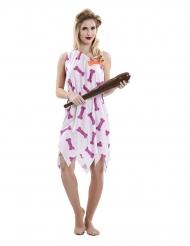 Costume dama delle caverne rosa donna