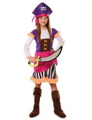Costume da pirata avventuriero viola per bambina