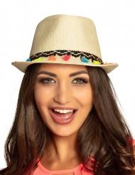 Cappello borsalino con pompon multicolori adulto