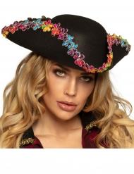 Cappello da pirata con fiori multicolori adulto