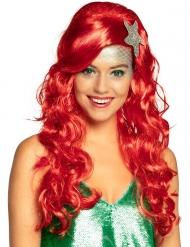 Parrucca sirena rossa con stella di mare adulto