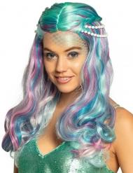 Parrucca sirena pastello con perle adulto