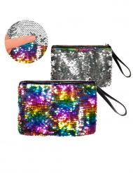 Borsetta pochette con zip e paillettes arcobaleno e argento adulto
