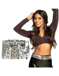 Cintura con paillettes argentate adulto