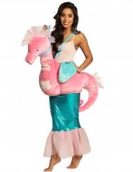 Costume sirena su cavalluccio marino rosa adulto