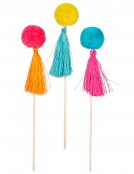 6 Stecchini di legno con pompons colorati