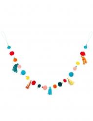 Ghirlanda di pompon multicolori