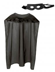 Kit mantello e maschera super eroe nero adulto