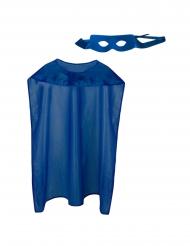 Kit mantello e maschera super eroe blu adulto