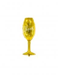 Palloncino alluminio flute Cheers dorato