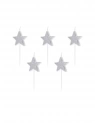 5 Candeline per torta con stelle argentate