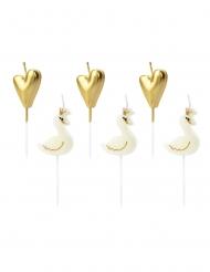 6 Candeline Cigno e cuore dorato