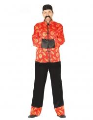 Costume da cinese rosso e dorato per uomo