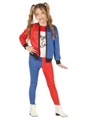 Costume giullare rosso e blu bambina
