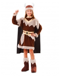 Costume marrone da vichingo per bambina