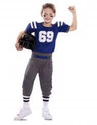 Costume da giocatore di football blu e grigio per bambino