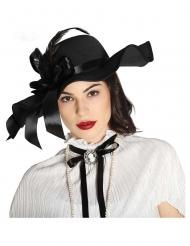 Cappello nero con piume per donna