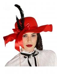 Cappello rosso con piume per donna