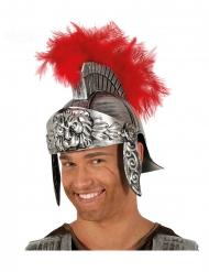 Casco da centurione romano con piume rosse adulto
