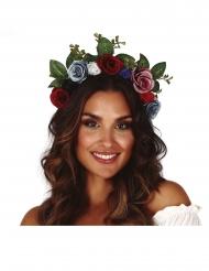 Corona di fiori tonalità scure per adulto