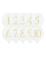 10 Palloncini in lattice cifre 1 a 10 bianchi e oro