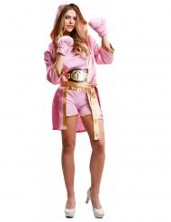 Costume da pugile con guanti rosa per donna