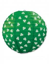 Lanterna in carta verde con trifogli 24 cm