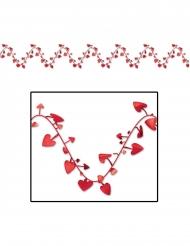 Ghirlanda di plastica con cuori rossi 7 m