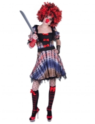Costume vestito da clown sanguinario per donna
