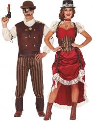Costume di coppia steampunk rosso per adulto