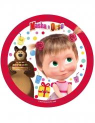 Disco di zucchero Masha e Orso™ rosso 21 cm