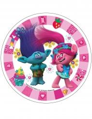 Disco in ostia Trolls™ rosa 21 cm