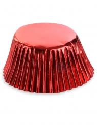 50 pirottini per cupcake in carta rossa metallizzata 7 cm