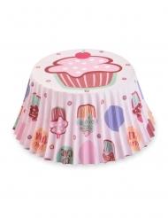 50 pirottini per cupcake dolcetti rosa 7 cm